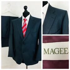 Magee Mens Suit 44S 40W 25L Wool Grey Single Breasted Formal Business  (V57)