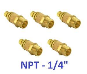 """Brass Flow Control Silencer 1/4"""" Air Exhaust Muffler Pneumatic Connector 5 Piece"""