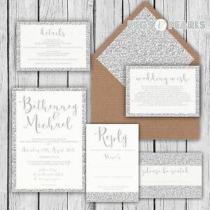 Personalised Luxury Wedding Invitations SILVER GLITTER effect packs of 10