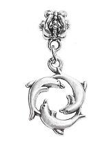 Dolphin Ring Beach Sea Life Ocean Dangle Charm for Silver European Bead Bracelet