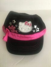 HELLO KITTY HAT painters cap Black & Pink child / teen size 4-16 cotton Sanrio