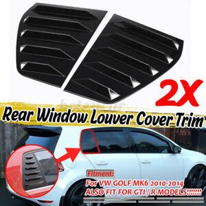 Glossy Window Quarter Louver Side Vent Scoop Cover for VW GOLF MK6 MK VI 10-14