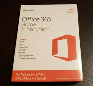Microsoft Office 365 Home 1 Year Subscription for 5 Users PC and Mac BRAND NEW