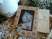 Finished Cross Stitch Snowman Christmas card Jingle Bell Snowflakes Cocoa Fabric
