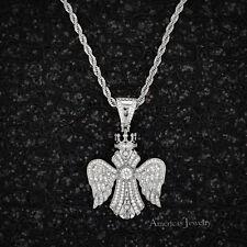 Men Lab Diamond 925 Sterling Silver Rhodium Finish King Cross Pendant 24''Chain