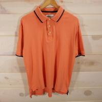 Orvis Men's Sz Large Short Sleeve Polo Shirt 100% Pima Cotton Light Orange