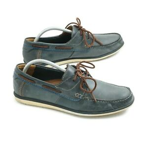 Clarks Kelan Mens Boat Shoes Sneakers Blue Leather Lace Up Size 9.5