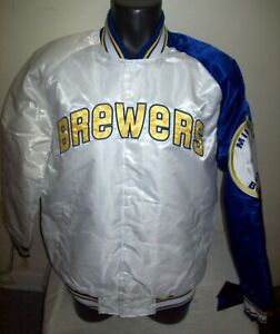 MILWAUKEE BREWERS MLB STARTER SNAP DOWN Jacket M L XL 2X WHITE with BLUE Trim