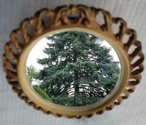 "Vtg Syroco Framed Ornate Oval Mirror Regency Gold Resin 12""T x 10""W (read)"