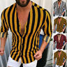 Men's Long Sleeve Striped Shirt V-Neck Button Up Slim Fit Tops Blouse Hippy Tee