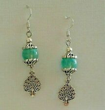 925 Sterling Silver Hook Earrings Peacock With Blue Glass Bead Bohemian Style