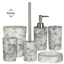 6Pc Rome Bathroom Set - Toilet Brush Tumbler Soap Dispenser Cotton Jar Waste Bin