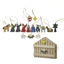 Heaven Sends Boxed Set of Nativity Wooden Christmas Tree Decorations