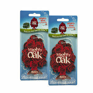 Mighty Oak Modern Rose Car Air Freshener x 2 Red Roses Hanging Card Freshners