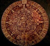 """Aztec Sun Calendar Mayan mya Mexican Souvenir Chalkware Plaster Very worn 9.5"""" d"""