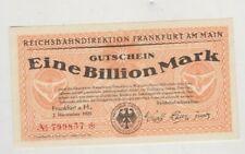 More details for 1923 germany regional railroad office frankfurt am main 1 billion mark note.