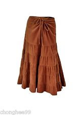 New Ladies Cord Tier Skirt Womens Casual Summer Cotton Long Dress Boho Style