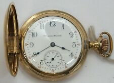 Hampden 12 Size Hand Engraved Hunter 15 Jewel 1904 Pocket Watch Runs LW181