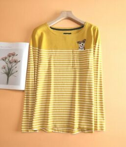 New Ex JOULES UK Size 22 Womens Harbour Dog Embroidered Stripe Jersey Top