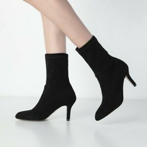 Details about  /Women/'s Ankle Boots Mid Calf Rhinestone Sunflower Elasticity Kitten Heels Shoes