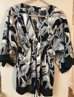BCBG Maxazria Women's Size S Blouse Multi color Empire Waist Top Silky Smooth