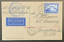 Germany, 1929, 2mk Zeppelin On Flight Card To U.S., All Proper Markings, Vf