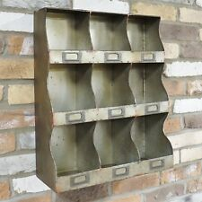 Retro Industrial Vintage Cupboard Cabinet 9 Pigeon Hole Wall Storage Shelf Unit