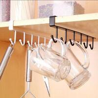 Metal 6 Hook Under Shelf Mug Cup Cupboard Kitchen Organiser Hanging Rack Holders
