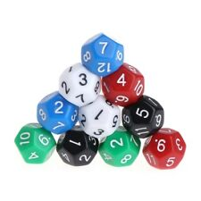 10pcs Multicolor Game Accessorie 12 Sided Acrylic Number Dice
