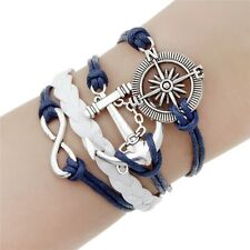Fashion Leather Wrap Charm Bracelet for Women in Blue White and Silver