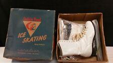 VINTAGE INDIAN HEAD ICE SKATES + ORIGINAL BOX SIZE 8.