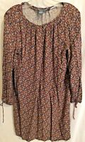 Chelsea and Theodore Womens Dress Tunic Paisley Multicolor Shift Boho Size Large
