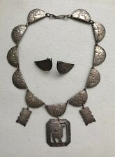 Collar Necklace & Earring Set Rare Vintage Peru 925 Sterling Silver