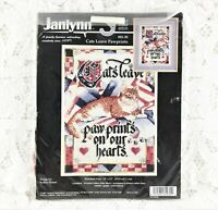Janlynn - 14 Count Cross Stitch Kit - CATS LEAVE PAWPRINTS - From 1997