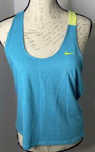 Nike Womens Aqua Yellow Razor Back Workout Activewear Pullover Tank Top Size L