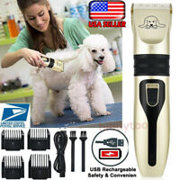 Pet Hair Shave Clipper Low Noise Cordless Electric Dog Cat Grooming Trimming USA