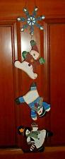 """Vintage Wooden Snowman Hanging Door/Wall Christmas Garland 27"""""""