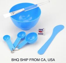 4 in 1 Facial Mask Bowl Brush Spoon Stick Face Skin Care Tool (Blue)