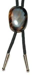 BEAUTIFUL STONE AGATE BOLO TIE with BLACK CORD (BT006)