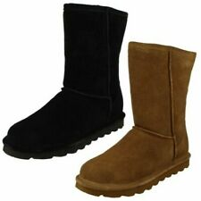 Ladies Bearpaw Casual Pull On Sheepskin Lined Suede Boots Elle Short