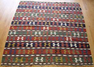 "Antique Caucasian Kilim 1900 Oriental Rug Hand-Woven 100% Wool  6' x 7'8"""