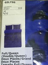 IKEA GILTIG - Duvet Cover and 2 Pillowcases Full/Queen Blue Black Cotton Sateen