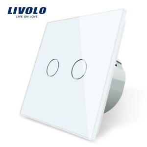 Livolo EU Standard 2 Gang 1 Way Wall Touch Light Switch,Wall power sensor