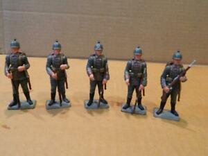"""5 Starlux France 2 1/2"""" World War I German Soldiers Plastic Hand Painted Vintage"""