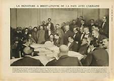 Treaty of Brest-Litovsk Signature Paix Ukraine von Kuhlmann Général  1918 WWI