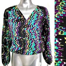 BEBE Pullover Blouse Multicolor V-Neck Elastic Waist Cuffs Gold Chain Size XS