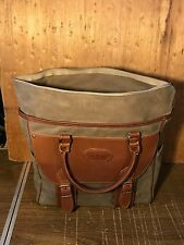 VINTAGE LL BEAN CANVAS LEATHER Satchel Briefcase Tote Bag Nice!