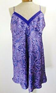 Liz Claiborne Satin Chemise Negligee Nightgown Floral Purple 2X