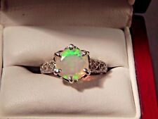1.52ct. Round Multi Color Faceted Opal Filigree Sterling Silver Ring Free Sizing