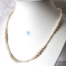 Pearl Necklace 21 Inches 3-8mm White Graduated Freshwater Pearl Necklace